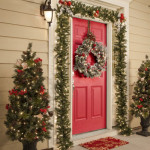 Front Door Christmas Wreath And Decorations