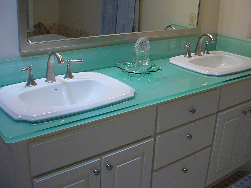 Frosted Glass Vanity Top Shelf