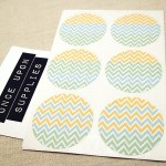 Gender Neutral Baby Pastel Colors Chevron Stripes Round Labels