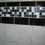 Glass And Marble Tiles Banded Black Subway Tile