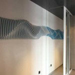 Glass Room Divider And Wave Wall Decoration For Unique Entryway Design