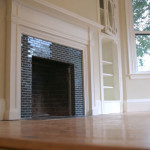 Glass Tile Gallery Black Subway Fireplace