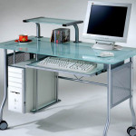 Glass Top Computer Desk Home Office Metal Contemporary Modern Frosted