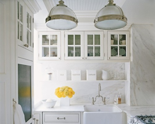 Great White Kitchen Via Elle Decor Pendants Carrera