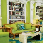 Green Color Minded Home Interior Living Room Design And Decoration