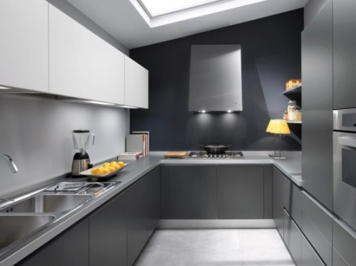 Grey Color Minimalist Kitchen Design