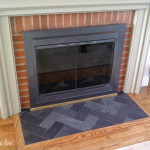 Herringbone Slate Fireplace Hearth