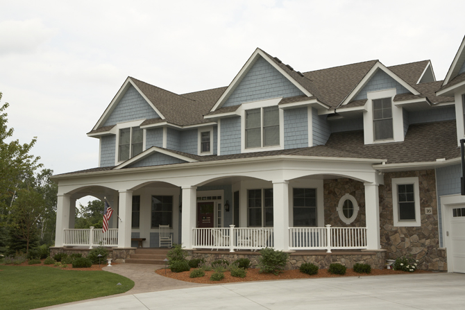 Home Exterior Blue Shaker Siding Two Story Traditional