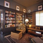 Home Library Bookshelves Lamp Desk And Posted