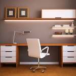 Home Office Design Idea Sleek Wooden Surfaces And Minimalistic