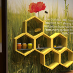 Honeycomb Shelves For Displaying Various Interactive Items Placed