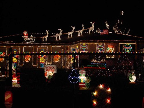 House Xmas Lights Christmas Landscapes Image