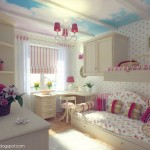 Impressive Girls Bedroom Trundle Beds And Cloud Ceiling Mural