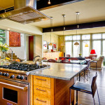 Integrated Living Room Kitchen And Work Space Designs Trend