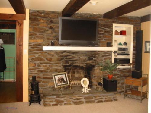 Interior Stone Wall Fireplace Living Room Designs Decorating Ideas