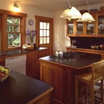 Inviting Traditional Kitchen Cherry Cabinets And Island