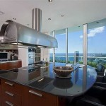 Kitchen Has Large Island Marble Countertop And Chef Stove