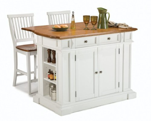 Kitchen Island Two Stools Home Styles White And Distressed Oaked