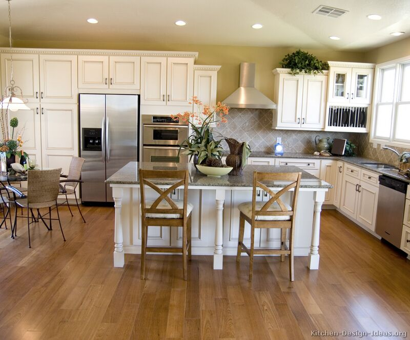 Kitchens Traditional Off White Antique Kitchen Cabinets