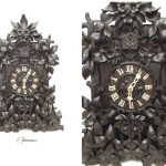 Large Unusual Floral Carved Theodore Ketterer Cuckoo Clock