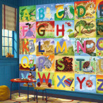 Large Wall Mural Alphabet Free Shipping Pre Pasted