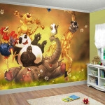Large Wall Mural Happy Animals