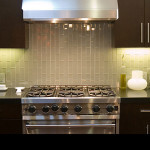 Light Brown Glass Subway Tile Vertical Installation