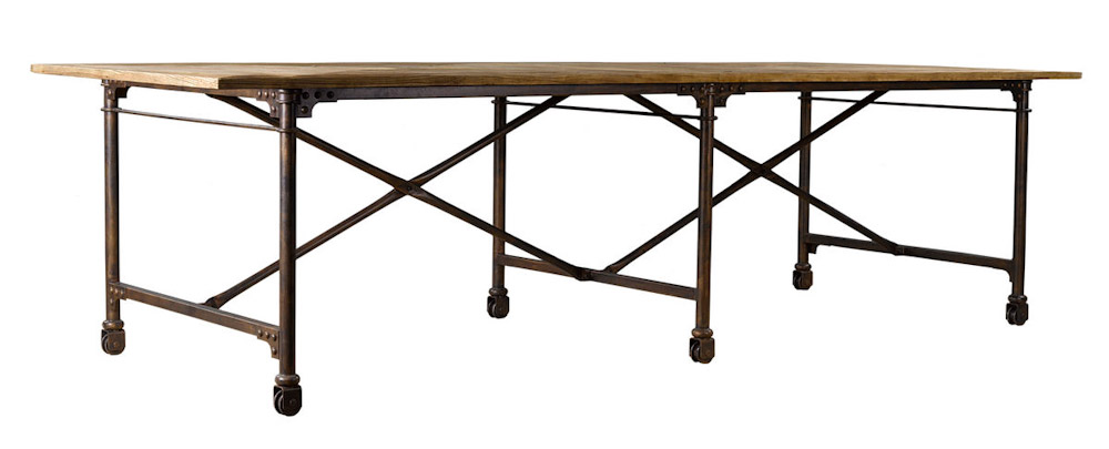 Limited Dining Tables Large Vintage Wood And Metal Table