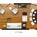 Living Room Dining Rendered Floor Plan Layout Full Table