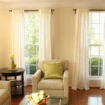 Long Linen Curtain Over All Windows Ideas For Living Room
