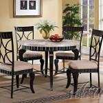 Lorencia Round Marble Top Black Bronze Metal Finish Dining Table Set