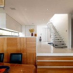 Low Wooden Stairs Design For Two Level Floor Modern