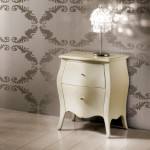 Materia Italian Designer Lacquered Wood Bedside Table Ivory