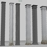 Maya Square Column Set Environment Design