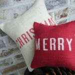 Merry Christmas Burlap Pillows Double Set Cute Craft Ideas