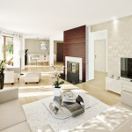 Minimalist Beautiful Living Room Design And Lighting Set