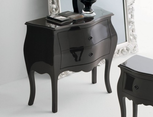 Missi Mis Italian Designer Black Lacquered Wood Bedside Table