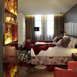 Modern Eclectic Hotel Bedroom Red And White Colour