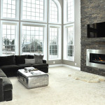 Modern Gas Fireplace Stacked Stone