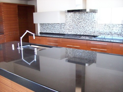 Modern Kitchen Absolute Black Granite Countertops