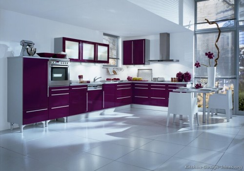 Modern Kitchen Deep Purple Cabinets And White Floors Walls