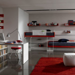 Modern Red Double Bed Teen Room Design Ideas