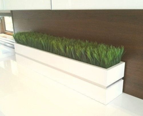 Modern White Lacquer Planter Box Grass Convoy
