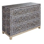 Mother Pearl Inlay Drawer Chest Grey Taupe Drawers