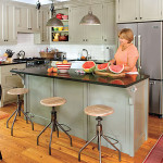 Narrow Kitchen Island Provides Ample Room Work Out Taking