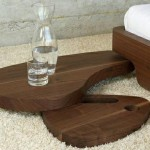 Natural Low Simple Freestanding Solid Wooden Bed Bedside Table Wood