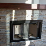 Natural Stacked Stone Fireplace Modern Living Room San