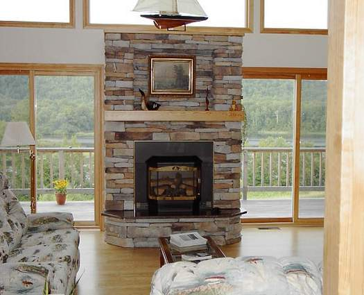 New Modern Stone Fireplace Design Glamour Living Room