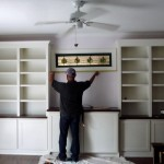 Nice Custom Bookcases Clean Shaker Style Doors And Stained Top