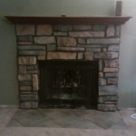 Not Cutting Decided Reface Our Fireplace Stone Veneer